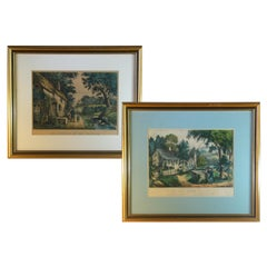 Pair of Currier & Ives Hand Colored Lithographs