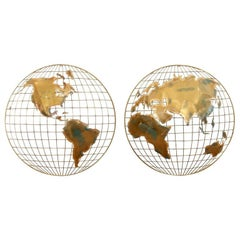 Pair of Curtis Jere Globe Wall Hangings