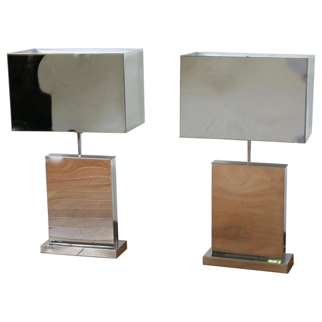 Pair of Curtis Jere Polished Chrome Table Lamps