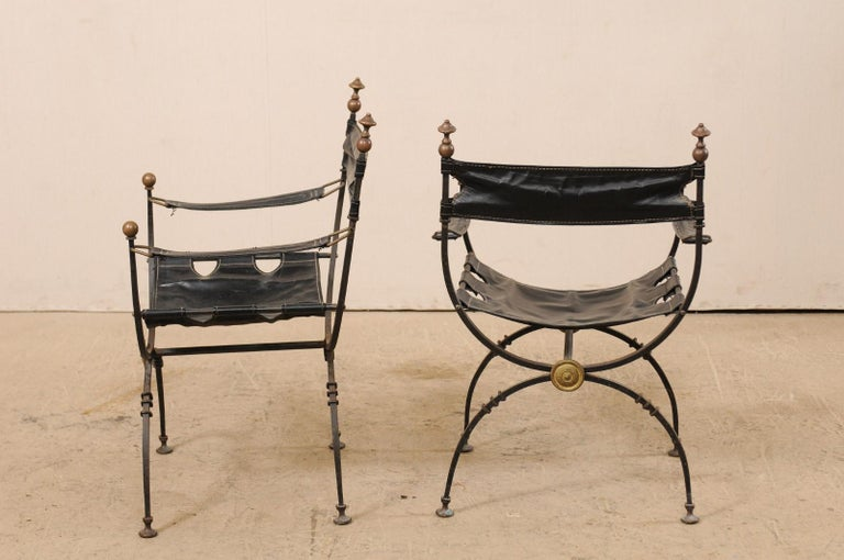 Iron Pair of Curule Savonarola Italian Black Leather Chairs from Early 20th Century For Sale