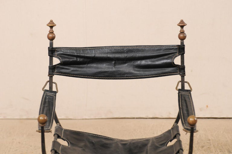 Pair of Curule Savonarola Italian Black Leather Chairs from Early 20th Century For Sale 3