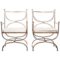 Pair of Curule Steel Brass Chairs Maison Jansen, Cushions, 1960s