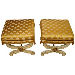 Pair of Curule Stool Benches with Silk Upholstery