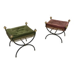 Pair of Curule Stools in Lacquered Metal, Brass and Velvet, circa 1950