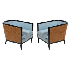 Pair of Curvaceous Caned Tub Chairs