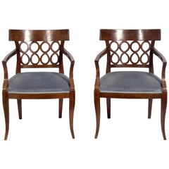 Pair of Curvaceous Italian Fret Back Chairs
