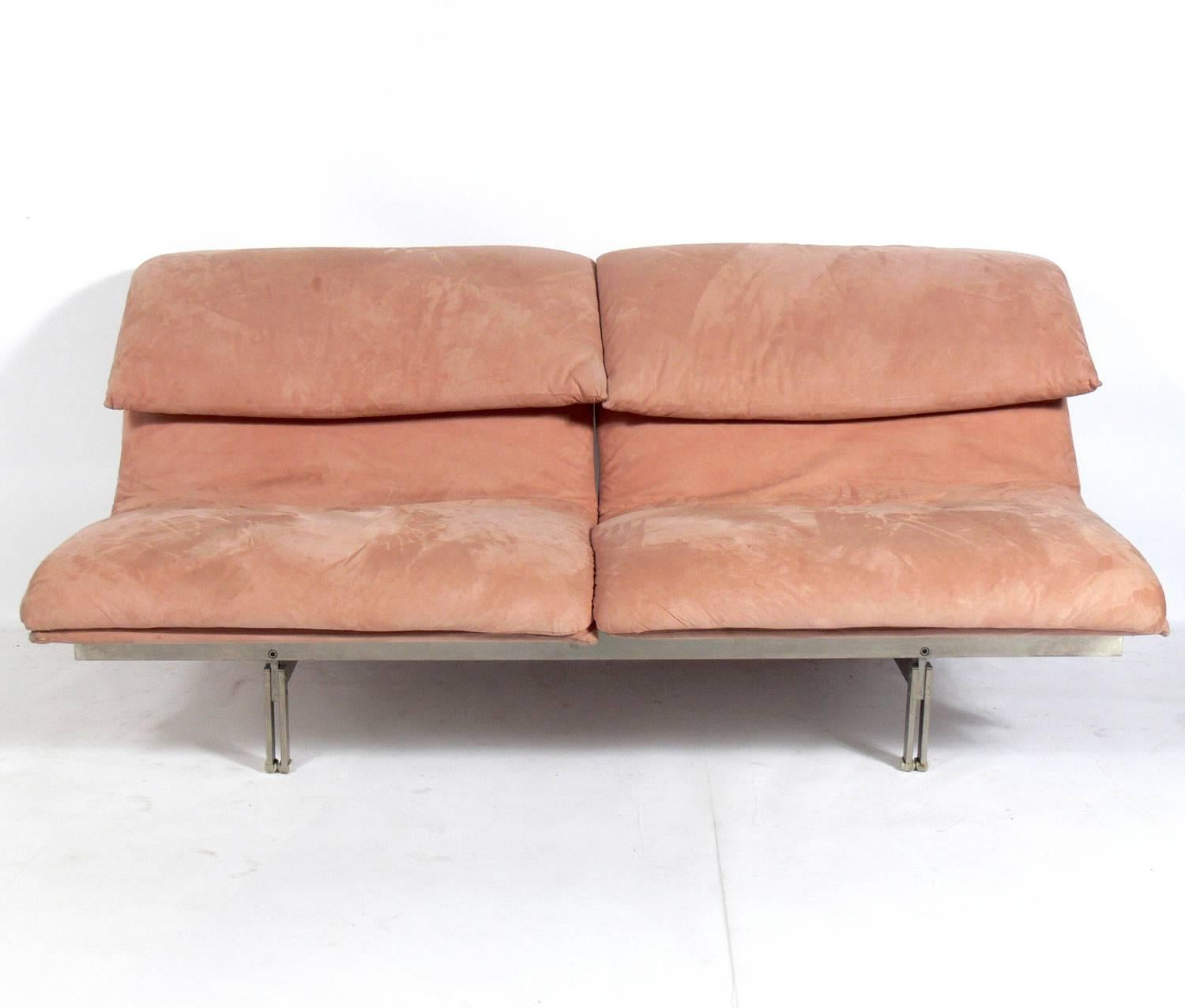 Pair Of Curvaceous Italian Sofas Or Settees By Saporiti, Italy, Circa  1980s. They