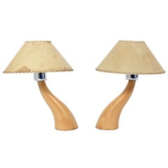 Pair of Curvaceous Postmodern Petite French Lamps