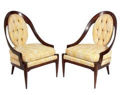 Pair of Curvaceous Spoonback Lounge Chairs