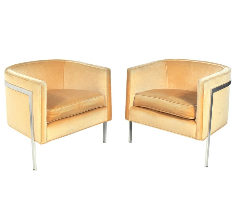 Pair of Curvaceous tub chairs by Harvey Probber, American, circa 1960s. These chairs are currently being restored and can be completed in your fabric. The price noted below includes reupholstery in your fabric and the frames being polished and