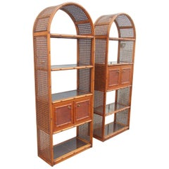 Pair of Curvate Bookcases Shelves in Brown Bamboo with Compartments