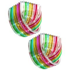 Pair of Curvati Rainbow Ceiling Lights, Multicolored Triedri, 24 Murano Glasses