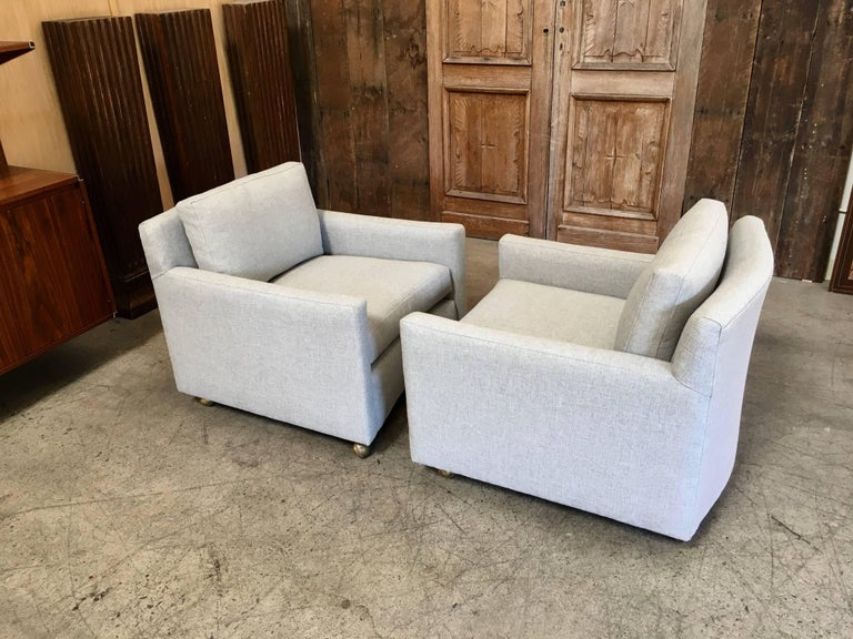 Pair of Curved Back 1950s Lounge Chairs on Casters For Sale 4