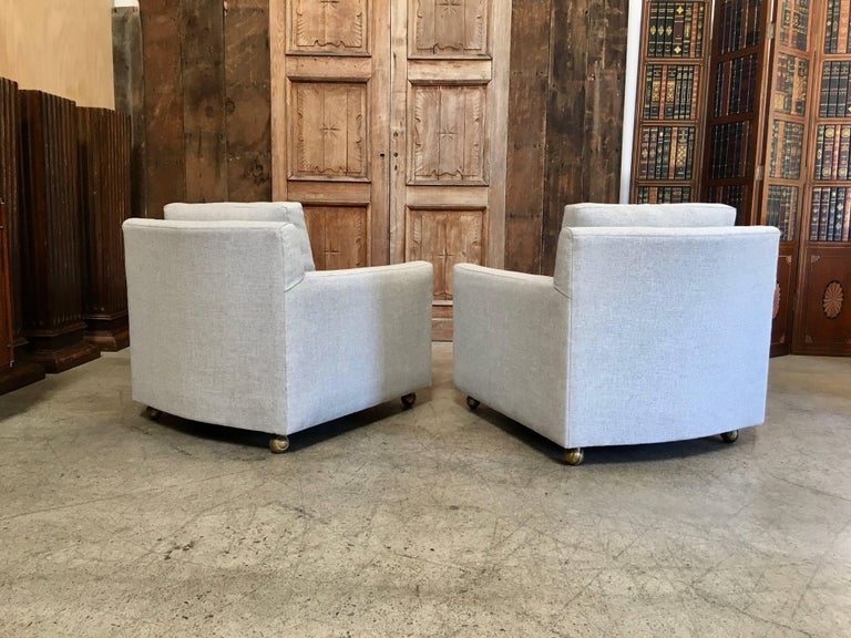 Pair of Curved Back 1950s Lounge Chairs on Casters For Sale 5