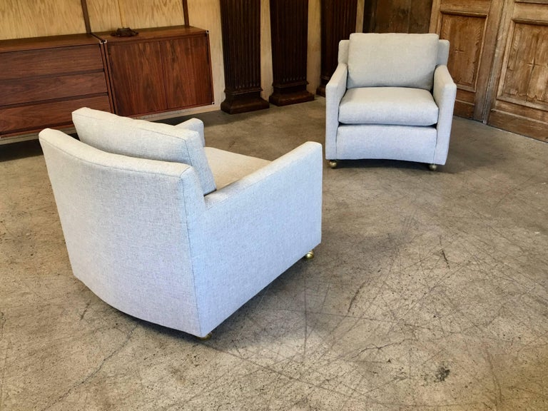 Pair of Curved Back 1950s Lounge Chairs on Casters For Sale 9