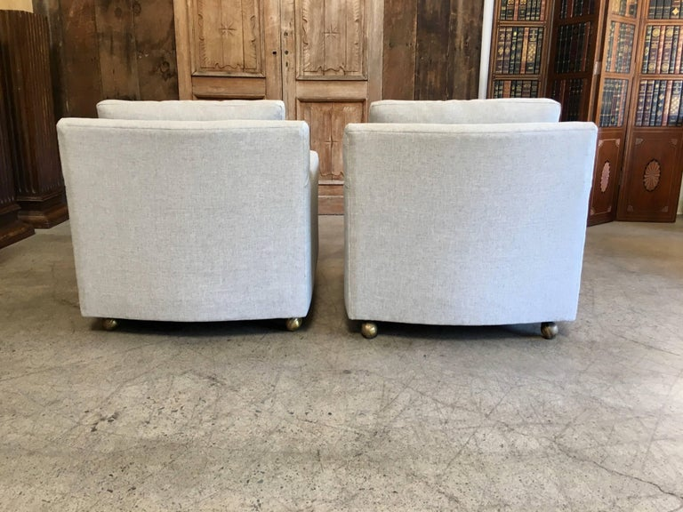 Pair of Curved Back 1950s Lounge Chairs on Casters For Sale 10