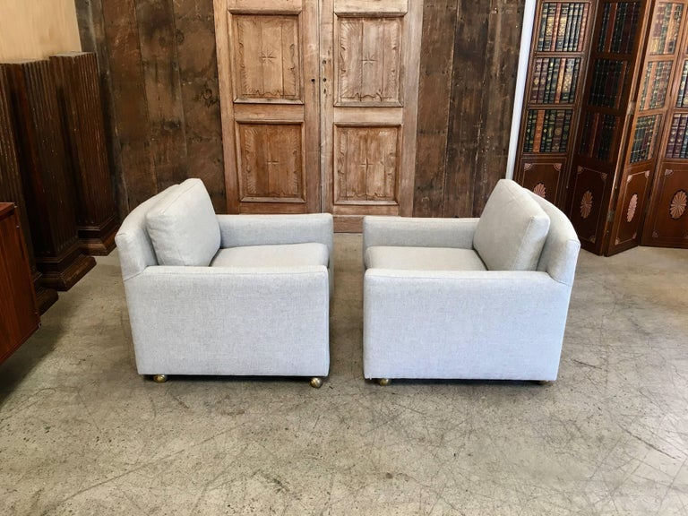Pair of Curved Back 1950s Lounge Chairs on Casters For Sale 2