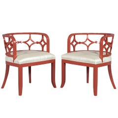 Pair of Curved Back Accent Lounge Chairs in Pale Red Lacquer