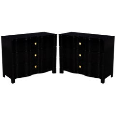 Pair of Curved Front Black Lacquered Chests Night Tables