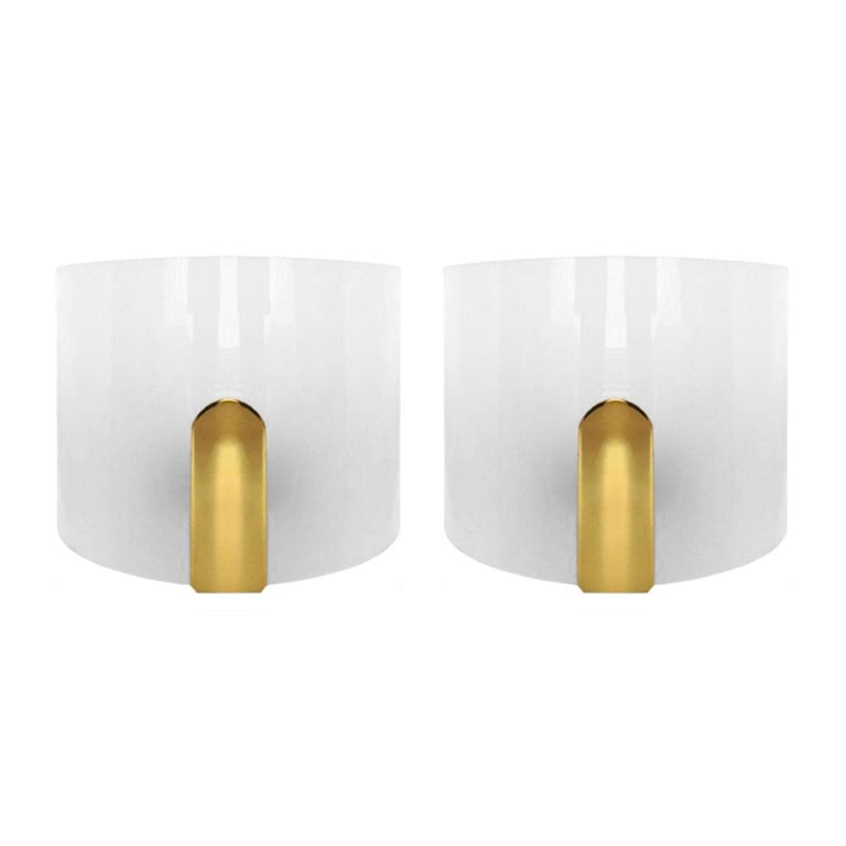 Pair of Curved Frosted Plexi and Brass Sconces