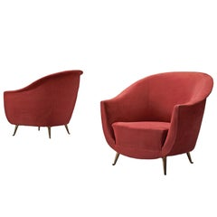 Pair of Curved Italian Lounge Chairs, 1950s