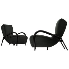 Pair of Curved Italian Lounge Chairs
