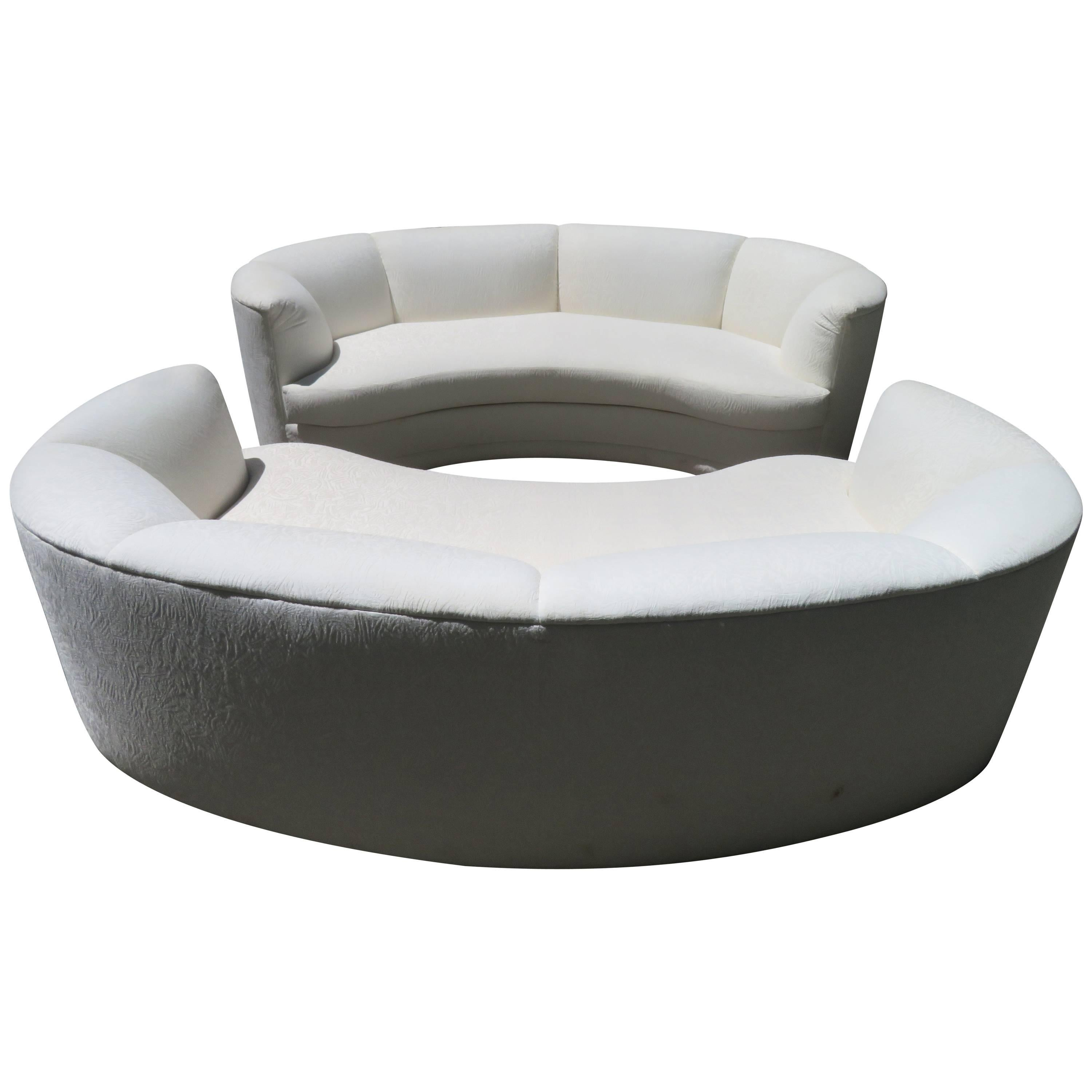 Pair of Curved Kidney Shaped Sofas Mid-Century Modern