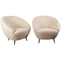 Pair of Curved Lounge Chairs attributed to Federico Munari, Italy, 1950s