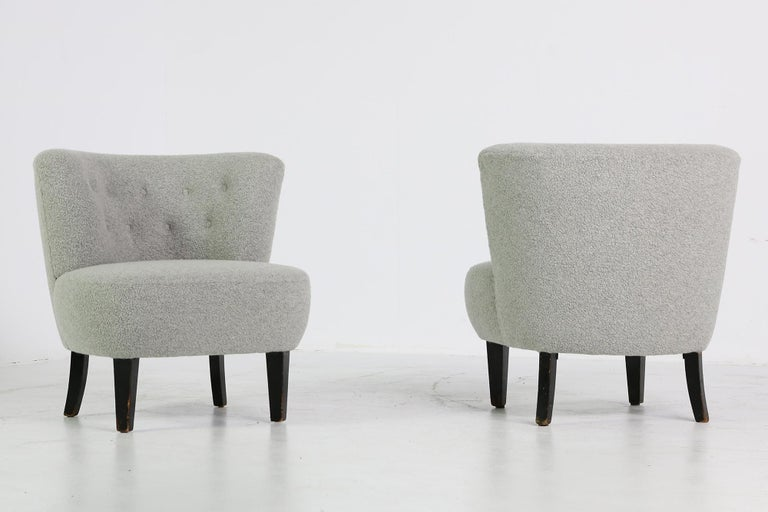 Pair Of Curved Mid Century Modern 1950s Lounge Chairs Teddy Fur Otto Schultz