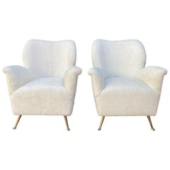 Pair of Curved Midcentury Lounge Chairs in White Curly Shearling