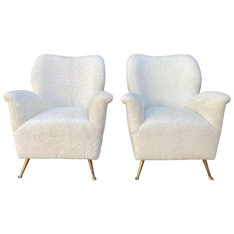 Pair of Curved Midcentury Lounge Chairs in White Curly Shearling For Sale