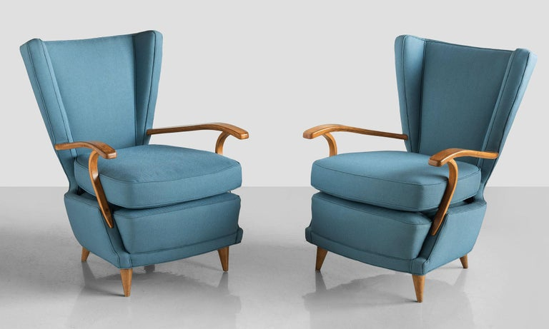 Pair of Curved Plywood Armchairs, Italy, circa 1950.  Dynamic form, with bentwood arms, newly reupholstered in Maharam Fabric.