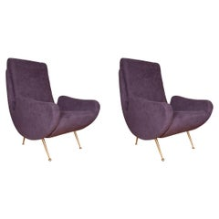 Pair of Curvilinear Purple Upholstered Armchairs with Brass Legs