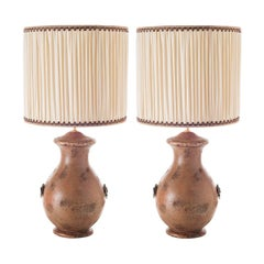 Pair of Curvy Ceramic Table Lamps