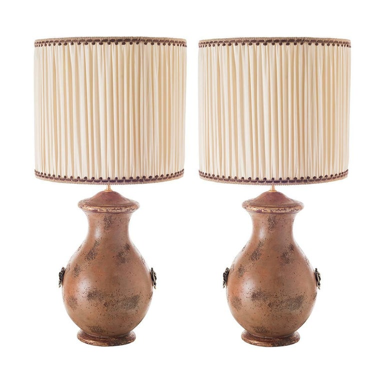 Pair of Curvy Ceramic Table Lamps For Sale