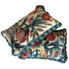 Pair of Cushions of 18th Century French Needlework with Flowers