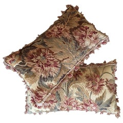 Pair of Cushions of Late 19th Century Aubusson Tapestry