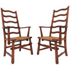 Pair of Cushman Style American Handmade Armchairs, circa 1930s
