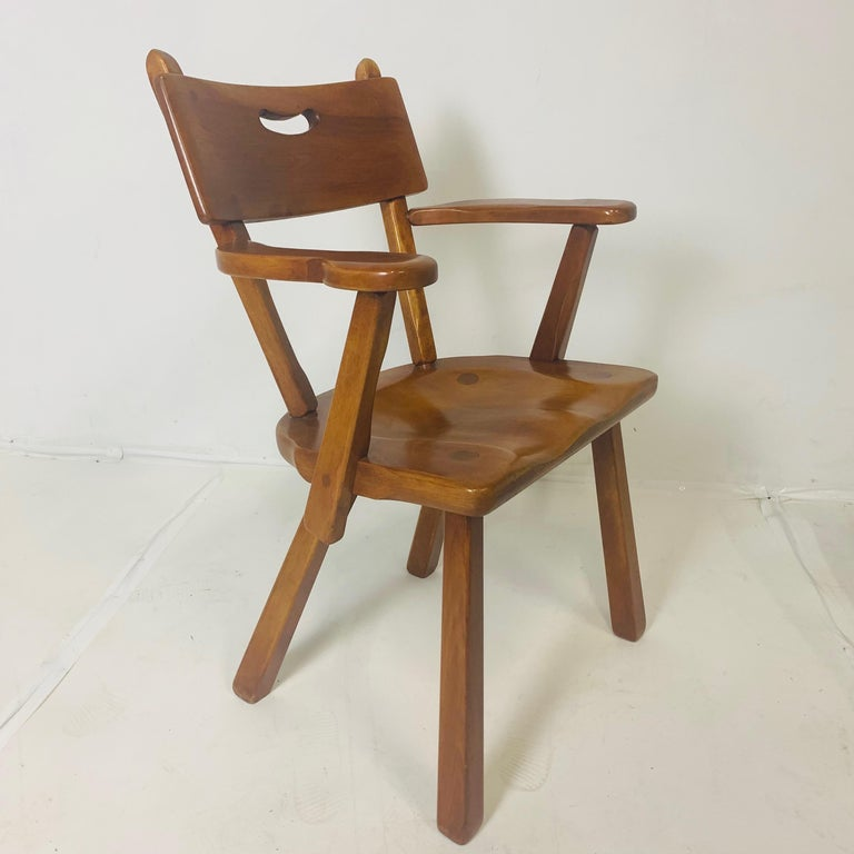 Modern craftsman style chairs produced by Cushman Vermont. Made of Vermont hard rock maple. Designed by Herman DeVries. Metal ID tags attached.