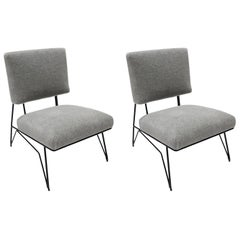Pair of Custom 1960s Style Black Metal Chairs in Gray Alpaca by Adesso Imports