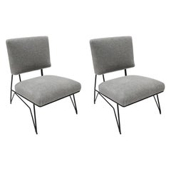 Pair of Custom 1960s Style Metal Chairs in Gray Alpaca by Adesso Imports