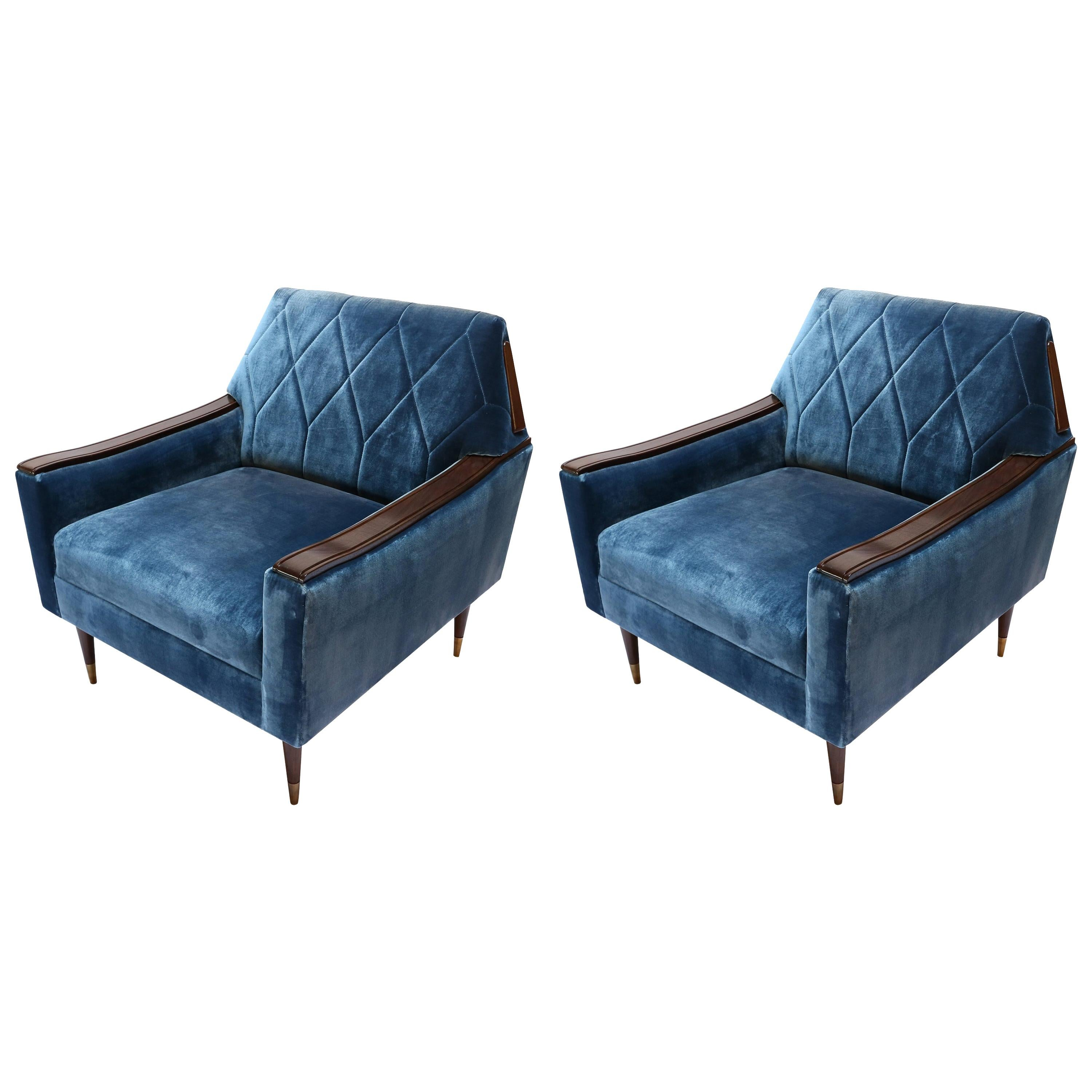 Pair of Custom 1960s Style Wood and Silk Velvet Armchairs by Adesso Imports