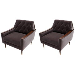 Pair of Custom 1960s Style Wood and Velvet Armchairs by Adesso Imports