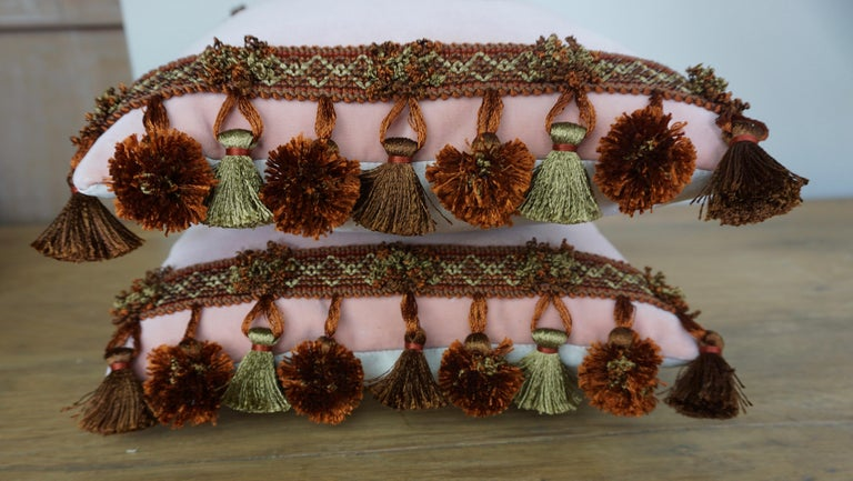 Rococo Pair of Custom Accent Pillows by Melissa Levinson For Sale