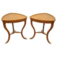 Pair of Custom Adams Regency Style Satinwood Mahogany Triangle Side End Tables