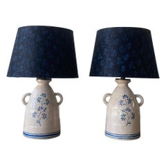 Pair of Custom Alix Soubiran Ceramic Table Lamps