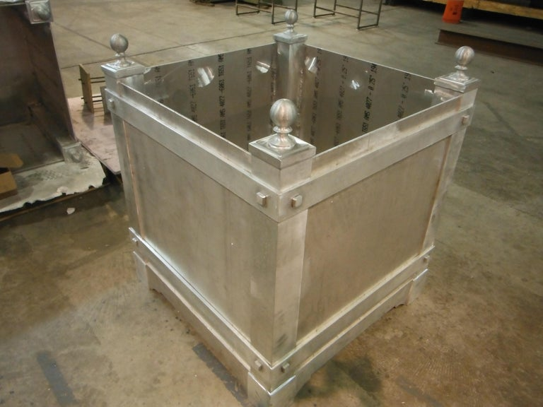 American Classical Pair of Custom, Hand Crafted Aluminum Planters For Sale