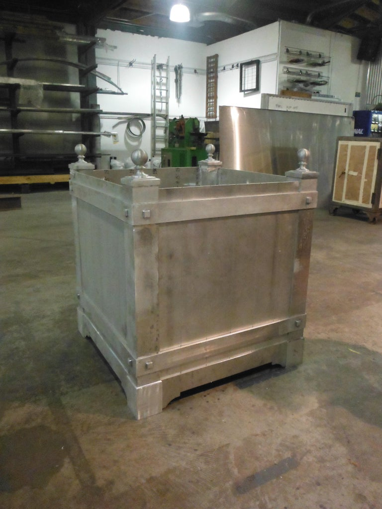 American Pair of Custom, Hand Crafted Aluminum Planters For Sale