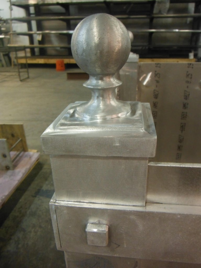 Powder-Coated Pair of Custom, Hand Crafted Aluminum Planters For Sale