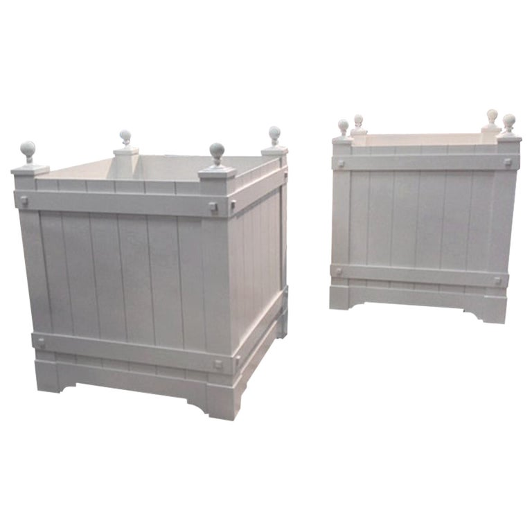 Pair of Custom, Hand Crafted Aluminum Planters For Sale